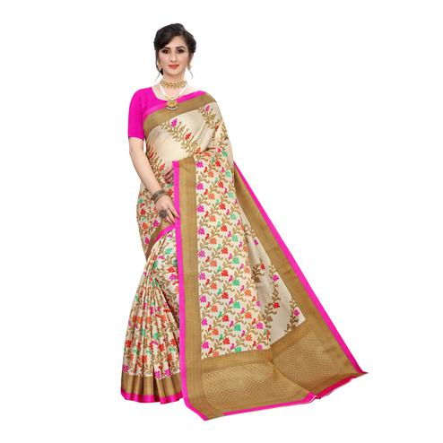 Refreshing Beige-Pink Colored Casual Wear Floral Printed Cotton Silk Saree