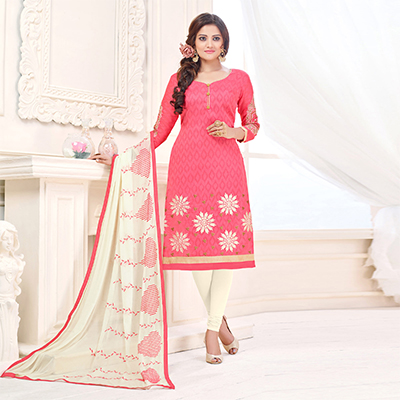 Stunning Peach Designer Embroidered Cotton Jacquard Salwar Suit