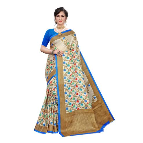 Magnetic Beige-Blue Colored Casual Wear Floral Printed Cotton Silk Saree