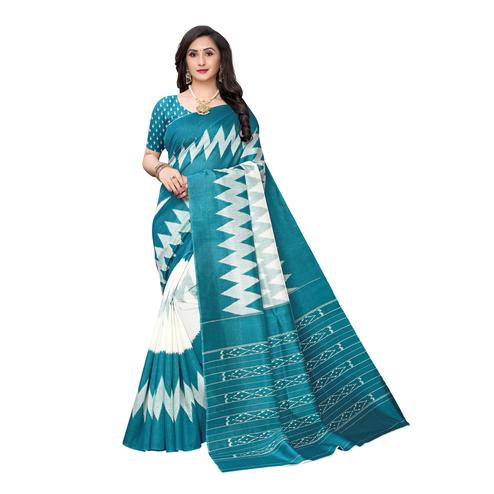Hypnotic Turquoise Colored Casual Wear Printed Geometric Art Silk Saree