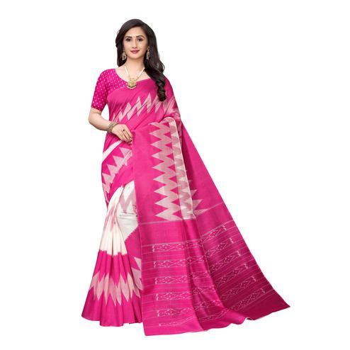 Preferable Pink Colored Casual Wear Printed Geometric Art Silk Saree