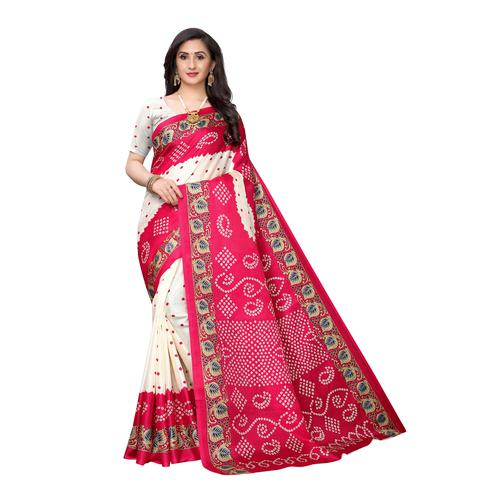 Marvellous White-Pink Colored Casual Wear Printed Art Silk Saree