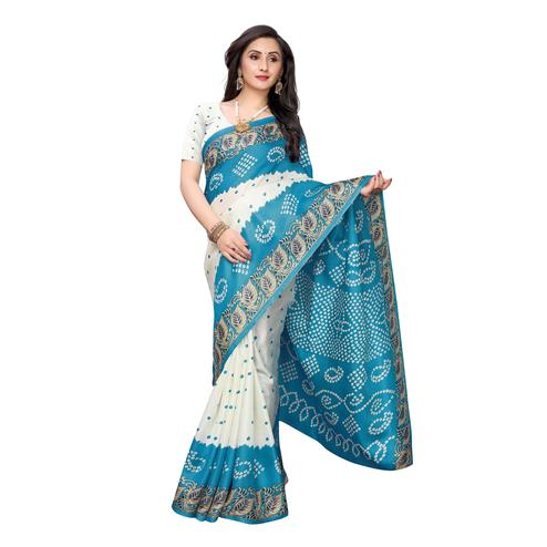 Sensational White-Turquoise Colored Casual Wear Printed Art Silk Saree