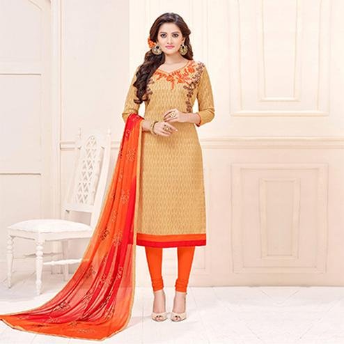 Beautiful Beige Designer Embroidered Cotton Jacquard Salwar Suit