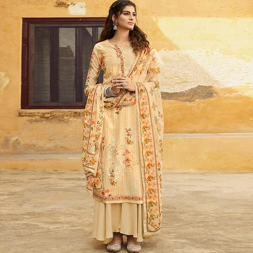 Stylee Lifestyle Beige Georgette Embroidered Dress Material