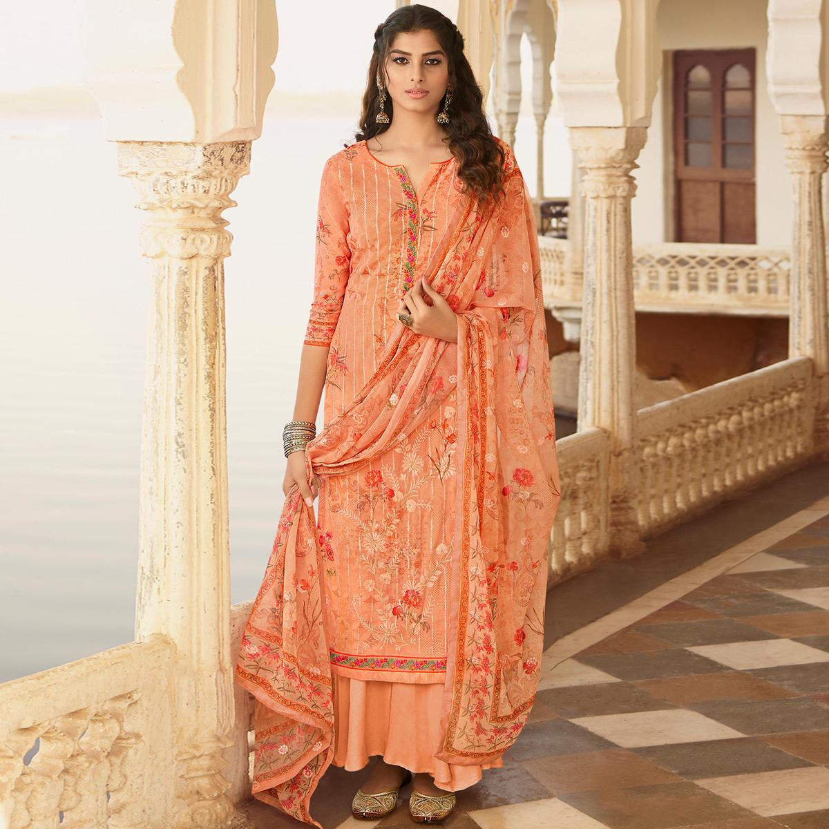 Stylee Lifestyle Peach Georgette Embroidered Dress Material