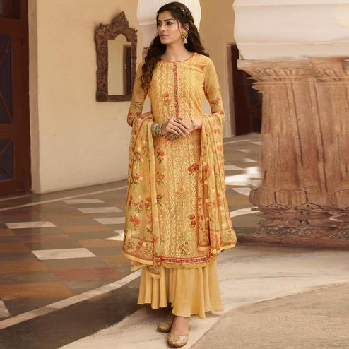Stylee Lifestyle Yellow Georgette Embroidered Dress Material