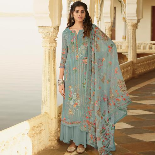 Stylee Lifestyle Sky Blue Georgette Embroidered Dress Material