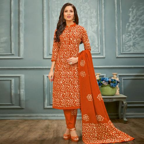 Charming Dark Orange Colored Casual Hand Printed Cambric Cotton Dress Material