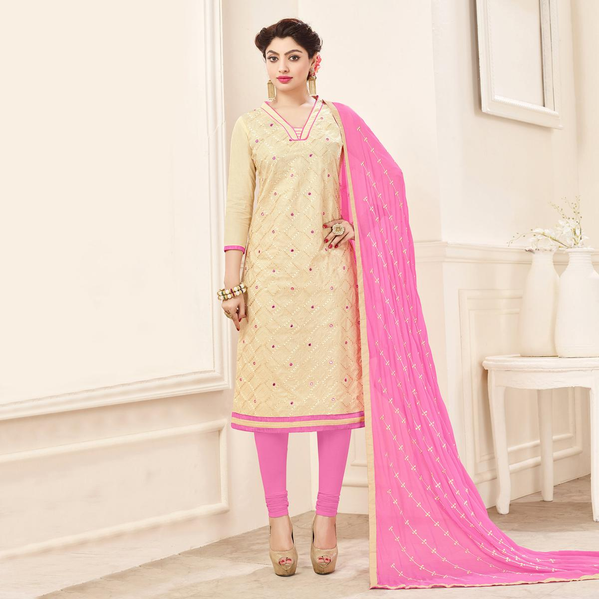 Cream-Pink Designer Embroidered Cotton Dress Material