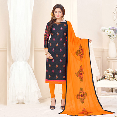 Attractive Black Designer Embroidered Cotton Jacquard Salwar Suit
