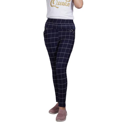 Adirav - Navy Blue Colored Casual Checked Printed 100% Cotton Jeggings