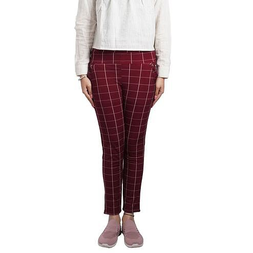 Adirav - Maroon Colored Casual Checked Printed 100% Cotton Jeggings