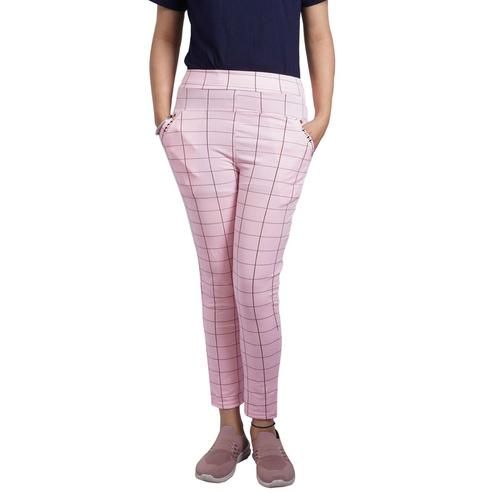 Adirav - Pink Colored Casual Checked Printed 100% Cotton Jeggings