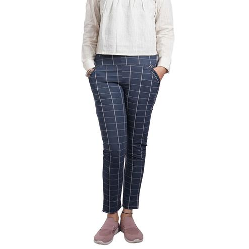 Adirav - Blue Colored Casual Checked Printed 100% Cotton Jeggings
