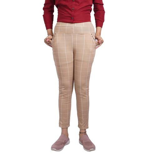 Adirav - Beige Colored Casual Checked Printed 100% Cotton Jeggings