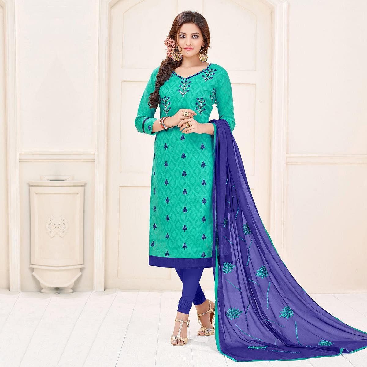 Classy Green Designer Embroidered Cotton Jacquard Salwar Suit