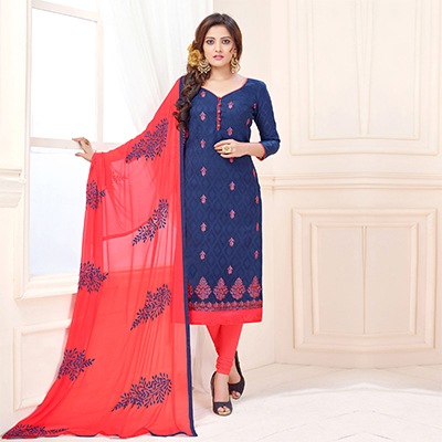 Soulful Dark Blue Designer Embroidered Cotton Jacquard Salwar Suit