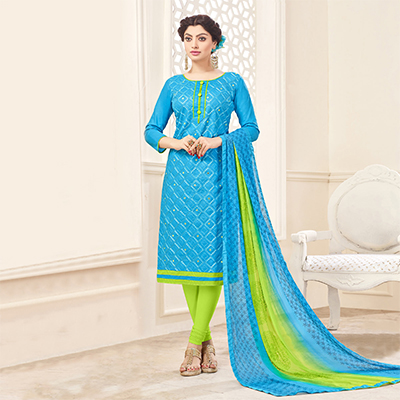 Blue-Green Designer Embroidered Cotton Dress Material