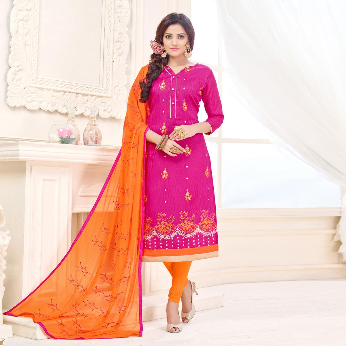 Graceful Pink Designer Embroidered Cotton Jacquard Salwar Suit