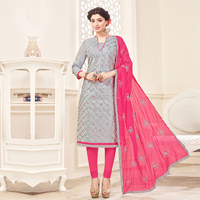 Gray-Pink Designer Embroidered Cotton Dress Material