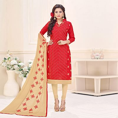 Hot Red Designer Embroidered Cotton Jacquard Salwar Suit