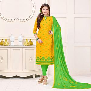 Ravishing Yellow Designer Embroidered Cotton Jacquard Salwar Suit