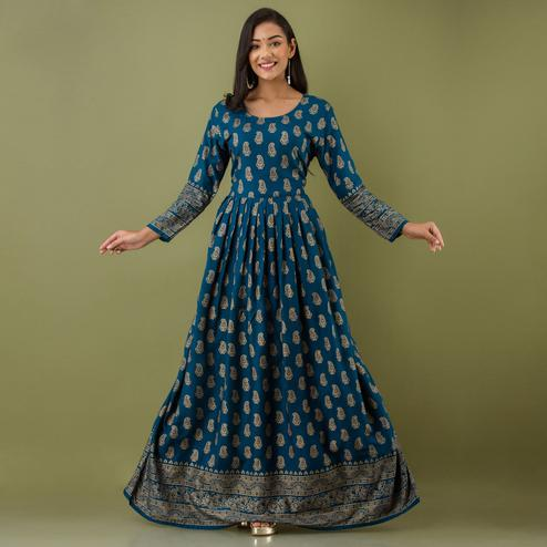 Zyla - Teal Colored Mialo Kairi Print Rayon Anarkali Kurti