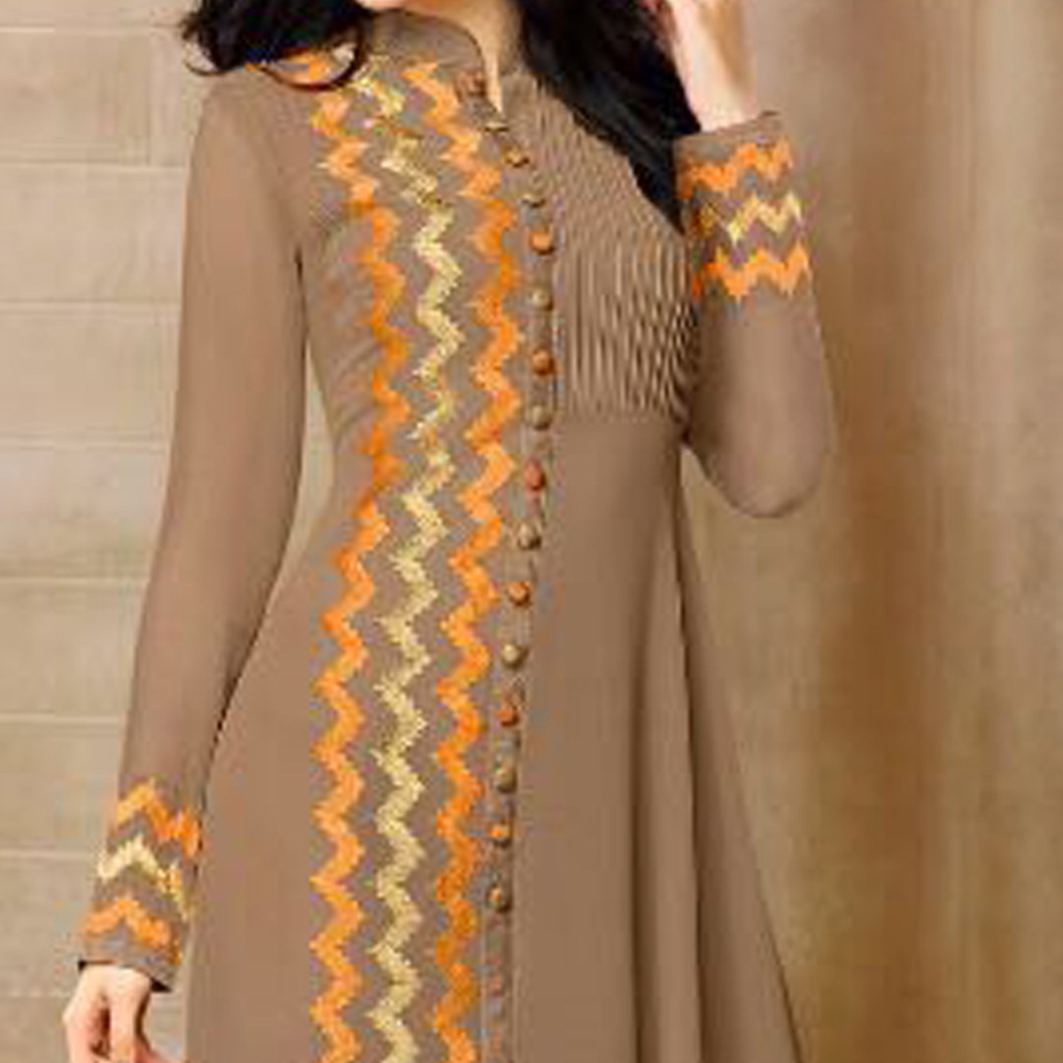Chikoo Color Layered Georgette Kurti