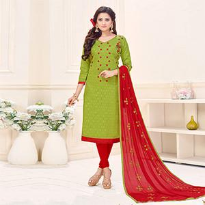 Gorgeous Green Designer Embroidered Cotton Jacquard Salwar Suit