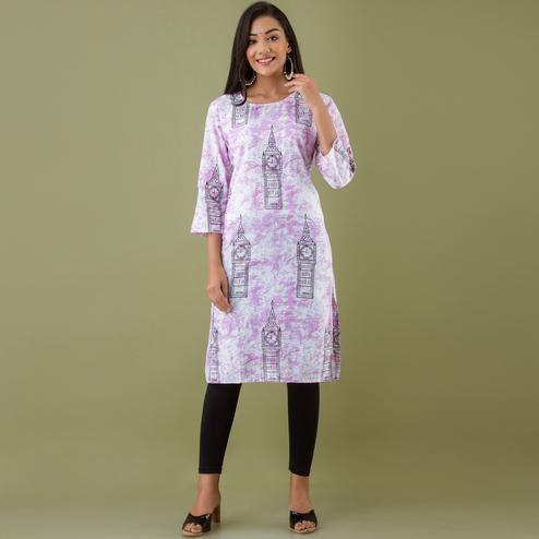 Zyla - Pink Colored Mialo Watch Print Staright Cotton Blend Kurti