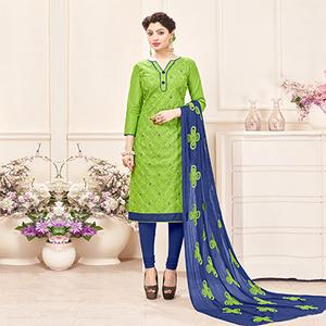 Green-Blue Designer Embroidered Cotton Dress Material