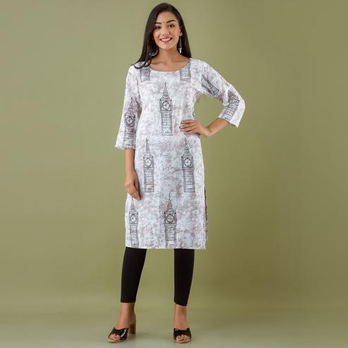 Zyla - Grey Colored Mialo Watch Print Staright Cotton Blend Kurti