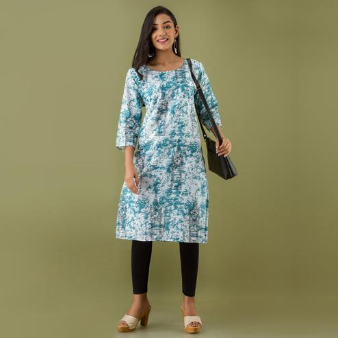 Zyla - Blue Colored Mialo Watch Print Staright Cotton Blend Kurti