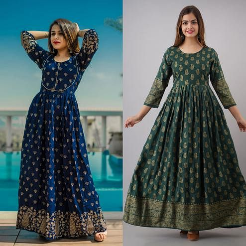 Zyla - Mialo Blue Piping And Green Kairi Anarkali Rayon Kurti - Pack Of 2