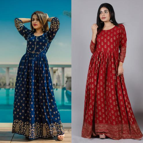 Zyla - Mialo Blue Piping And Maroon Kairi Anarkali Rayon Kurti - Pack Of 2