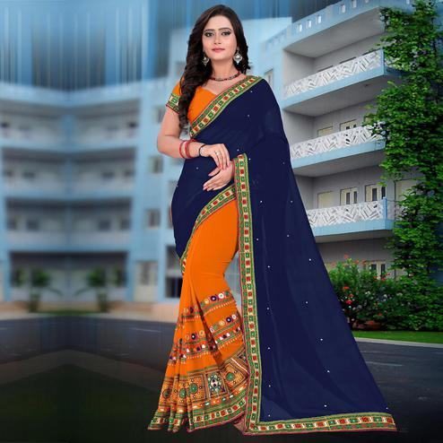 Riva Enterprise Women's Georgette Half & Half Embroidered Orange And Navy Blue Color Saree