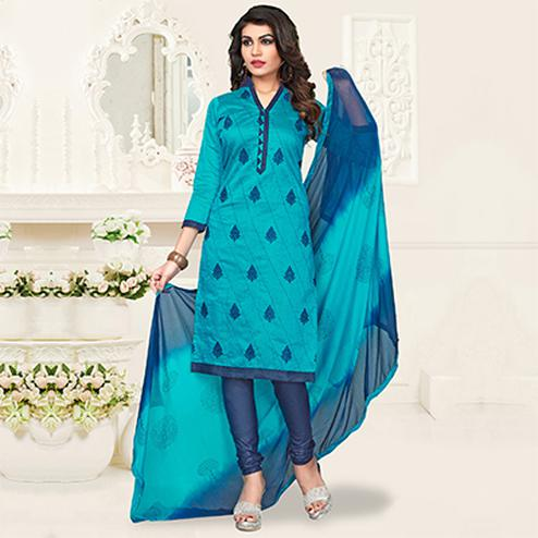 Beautiful Blue Colored Embroidered Polyester Dress Material