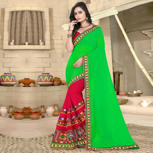 Riva Enterprise Women's Georgette Half & Half Embroidered Green And Pink Color Saree