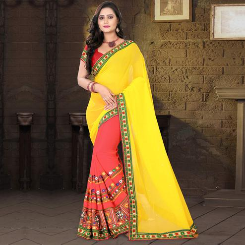 Riva Enterprise Women's Georgette Half & Half Embroidered Yellow And  Pink Color Saree