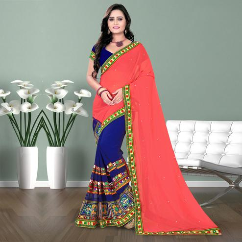 Riva Enterprise Women's Georgette Half & Half Embroidered Pink  And  Blue  Color Saree