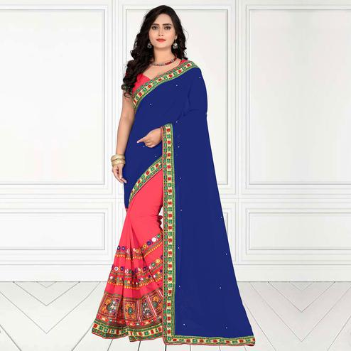 Riva Enterprise Women's Georgette Half & Half Embroidered Blue  And  Pink  Color Saree