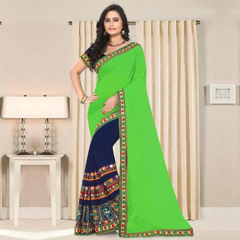 Riva Enterprise Women's Georgette Half & Half Embroidered Green And Navy Blue  Color Saree