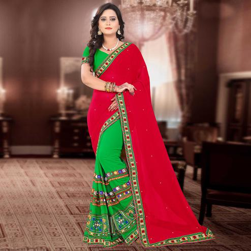 Riva Enterprise Women's Georgette Half & Half Embroidered Red And Green  Color Saree