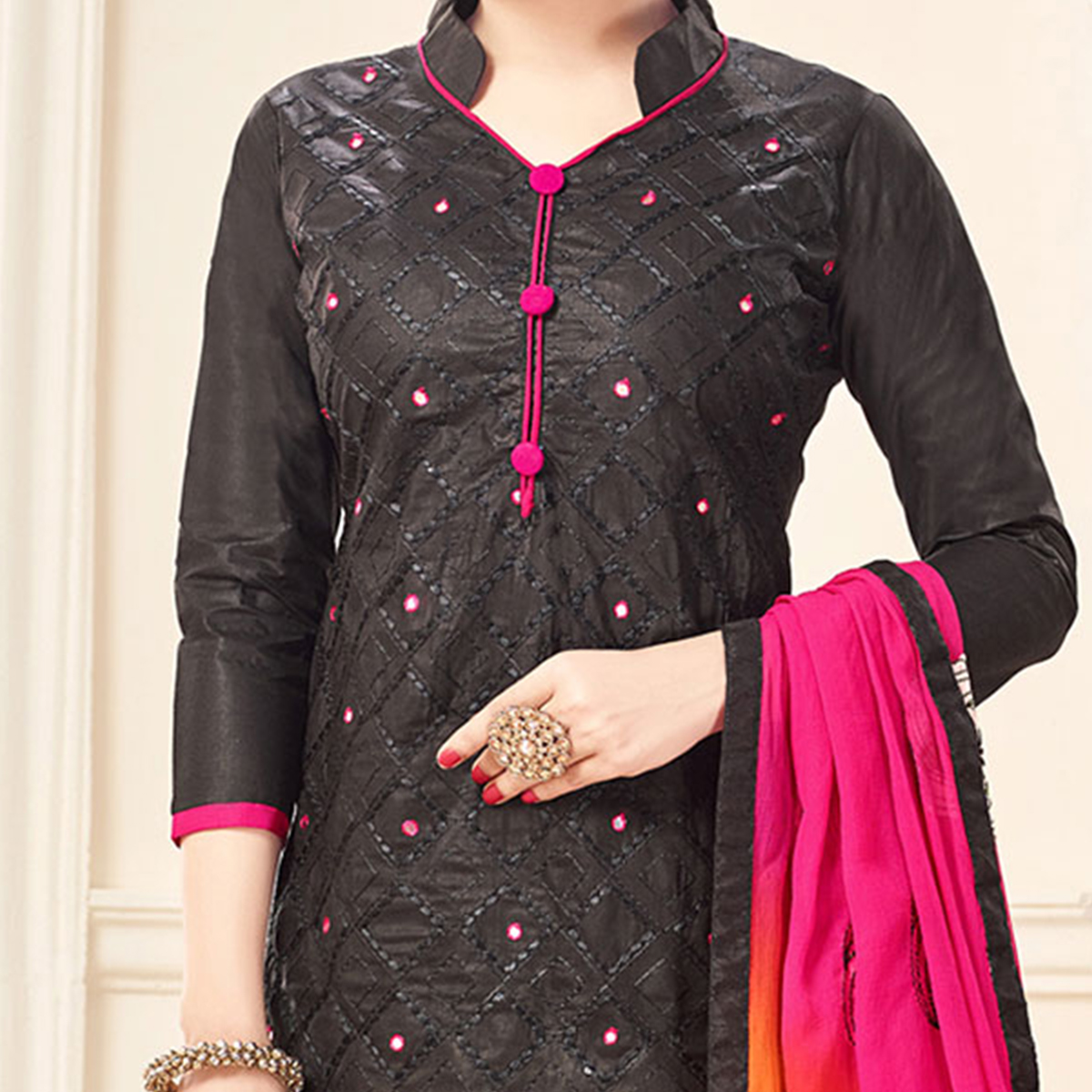 Black-Pink Designer Embroidered Cotton Dress Material