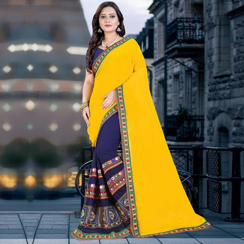 Riva Enterprise Women's Georgette Half & Half Embroidered  Yellow And Navy Blue  Color Saree