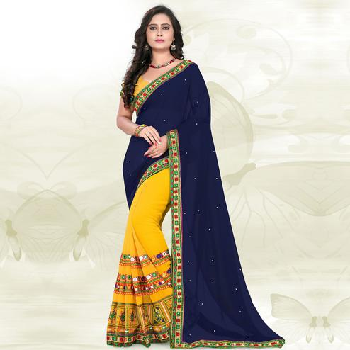 Riva Enterprise Women's Georgette Half & Half Embroidered  Navy Blue And Yellow  Color Saree