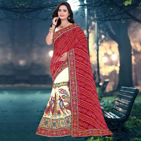 Riva Enterprise Women's Arrivals Festival Bandhani Pallu Embroidered Beige And Red Color Half & Half Saree