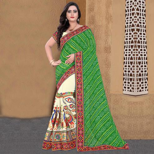 Riva Enterprise Women's Arrivals Festival Bandhani Pallu Embroidered Beige And Green Color Half & Half Saree