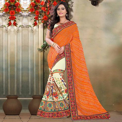 Riva Enterprise Women's Arrivals Festival Bandhani Pallu Embroidered Beige And Orange Color Half & Half Saree